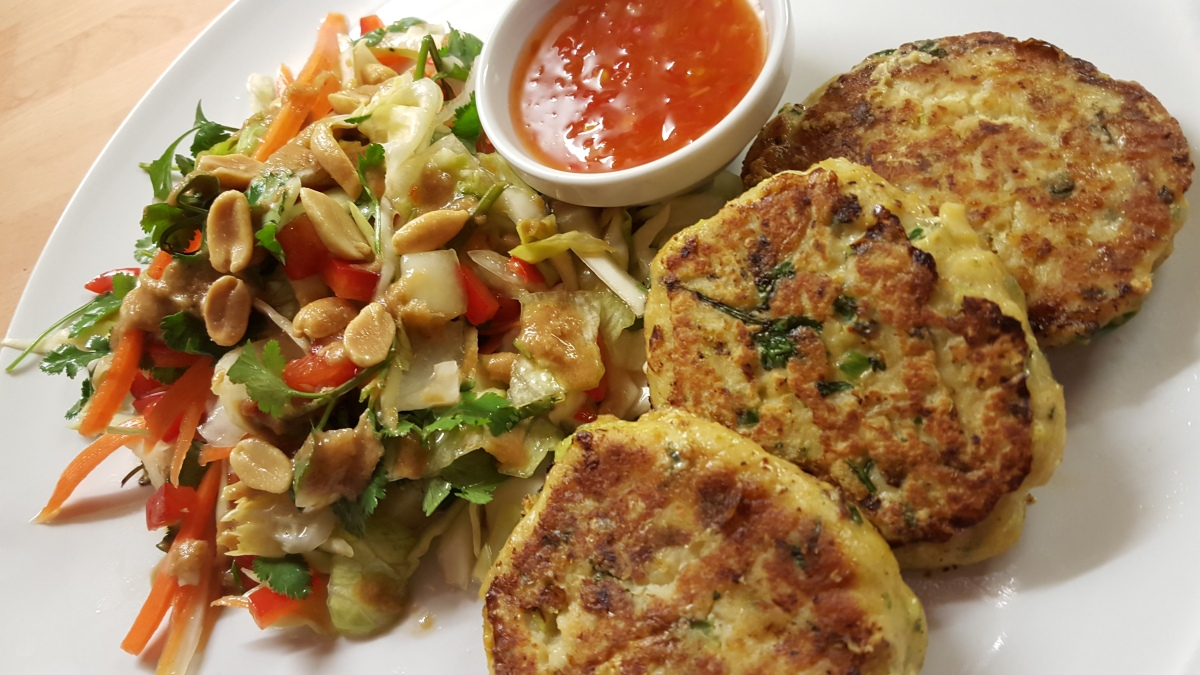Thai Fishcakes with crunchy peanut salad