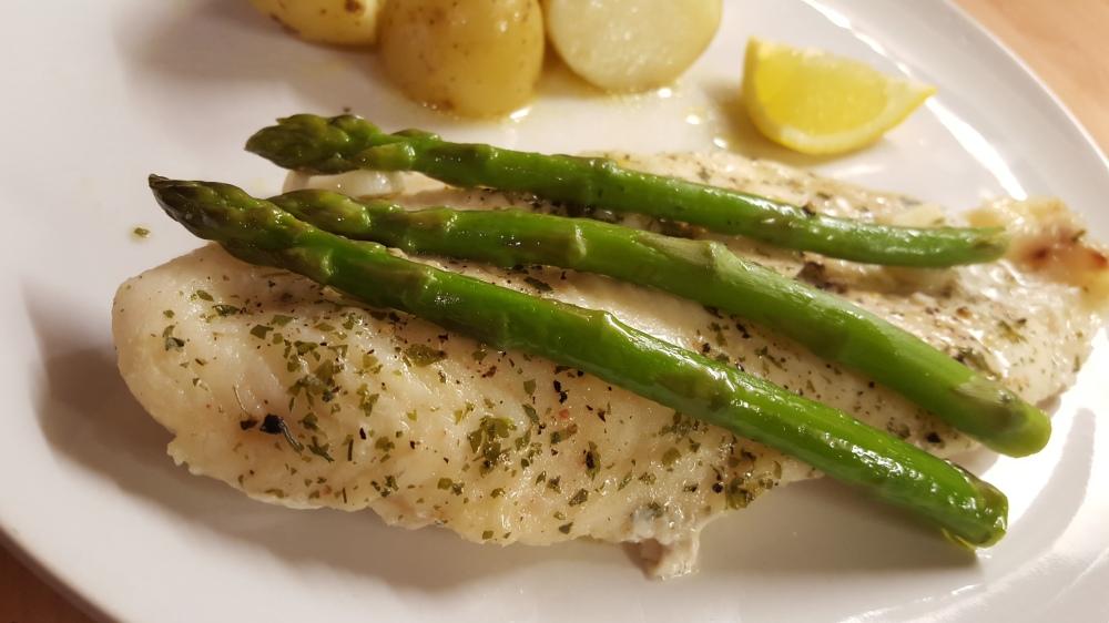 Fish in garlic butter