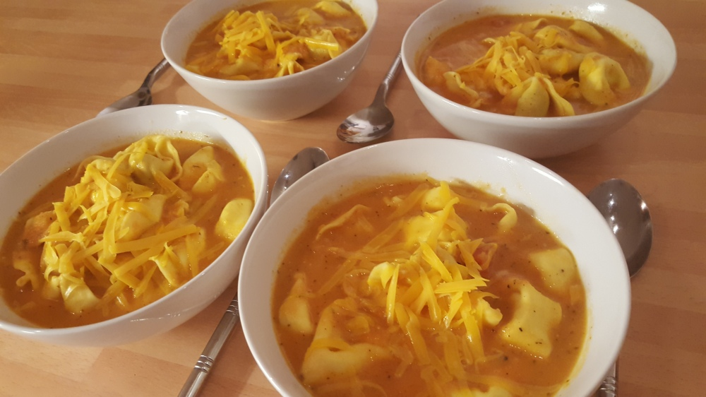 4 bowls cheese tortellini soup